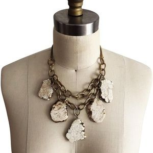 Anthropologie Tan White Stone Statement Necklace